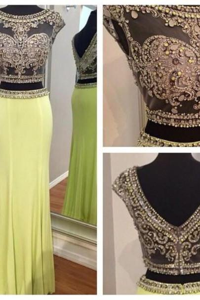 Custom Made A Line two Piece Yellow Beaded Prom Dresses, 2 Pieces Evening Dresses, 2 Pieces Formal Dresses