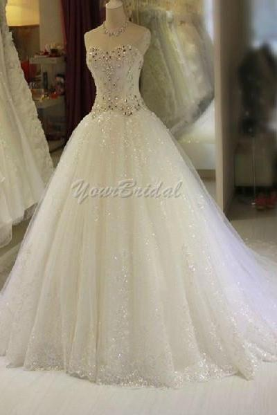 Shinning Sequined and Beaded Sweetheart Wedding Dress Bridal Dress Wedding Gown
