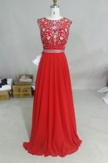 Handmade Red Beadings Long Prom Dresses 2015, Red Formal Dresses, Sparkle Red Prom Dresses, Prom Gown