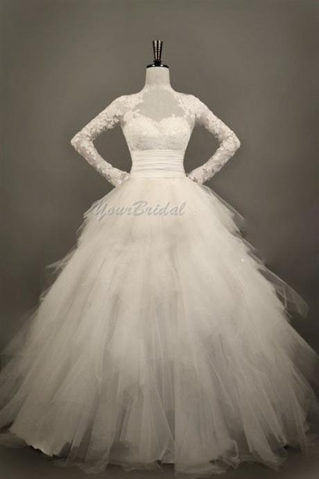 Custom Size Made Long Sleeves Tulle and Lace Appliques Wedding Dress Bridal Dress Wedding Gown