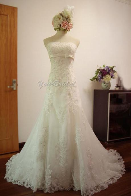 Custom Size Made Chapel Train Lace Mermaid/Trumpet Wedding Dress Bridal Dress Wedding Gown