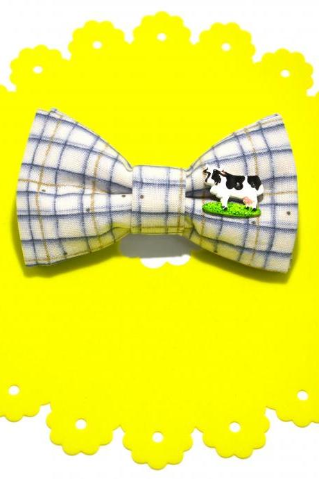 GRAPPI {Happy Cow} handmade cotton hair bow-clip