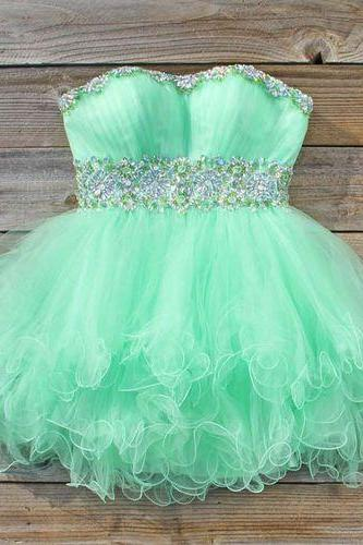 Cute Ball Gown Green Short Tulle Prom Dresses 2015, Homecoming Dresses, Formal Dresses, Party Dresses