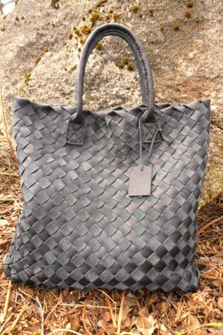 Large Navy Black Leather Tote - Large Leather tote - Supple Black Leather Bag-Woven Leather Tote,rwoodb