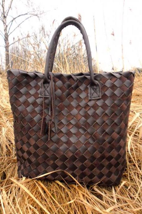 Brown Leather Tote - Large Leather tote - Light Brown Leather tote,Brown Leather Tote,Woven Leather Tote,rwoodb leather tote