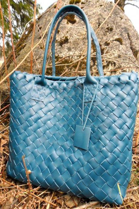 Leather Tote ,Turquoise Leather Tote ,Woven Leather Tote ,Dark Leather Bag,Hand Woven Leather tote,rwoodb