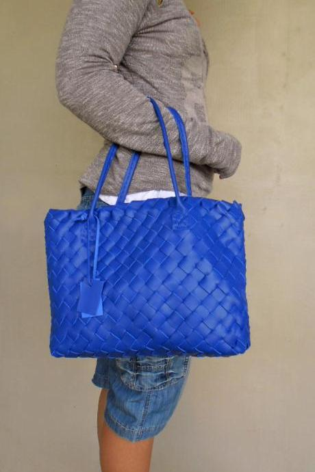 Blue Leather Tote - Leather tote - Blue Leather Bag,Blue Leather Tote,Woven Leather Tote,rwoodb