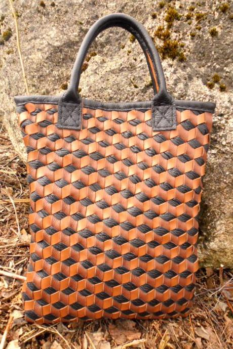Brown Leather Tote - Woven Leather Tote Bag - Brown Leather Bag,Brown Leather Tote,Woven Leather Tote,rwoodb
