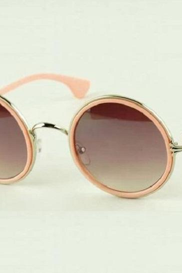 Round lenses retro pink fashion summer unisex sunglasses