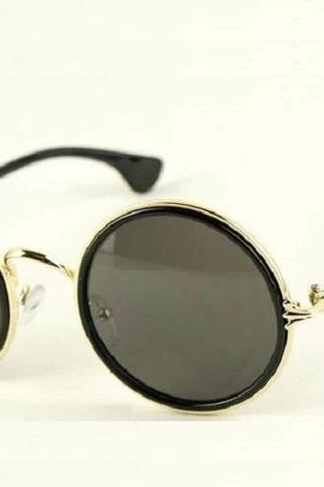 Round lenses black retro fashion summer unisex sunglasses