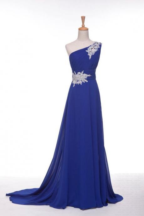 Handmade Royal Blue One Shoulder Prom Dress with Applique, Long Prom Dresses, Formal Dresses, Evening Dresses