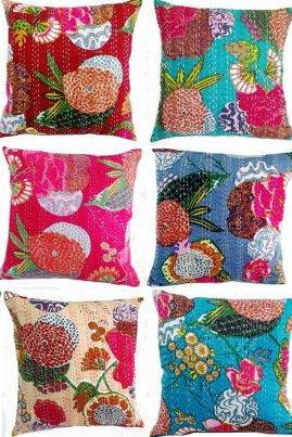 5pc kantha Cushion Cover,Cotton Embroidered kantha Pillowcase Decorative throw Pillow, Assorted colors and designs