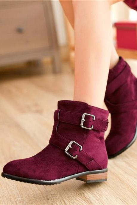 Spring Fashion Buckle Design Ankle Boots