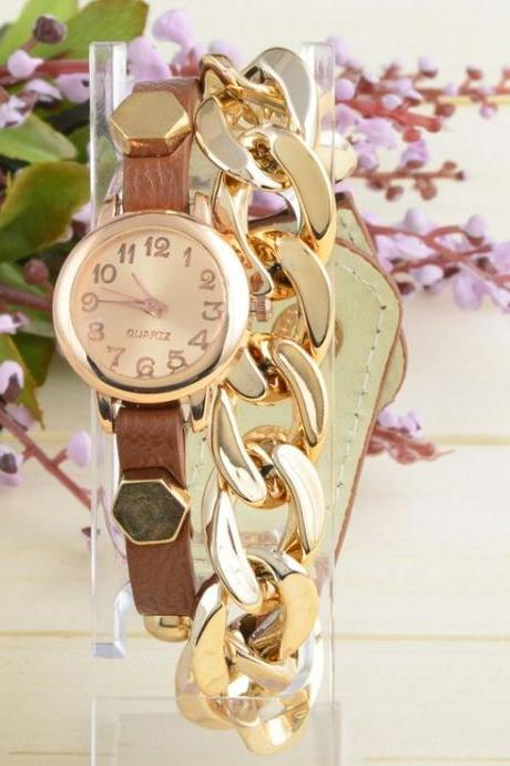 Thin Leather Strap brown Chain Decor Woman Watch
