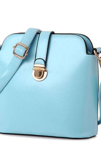 Candy Color Buckle Leather Shoulder Bags