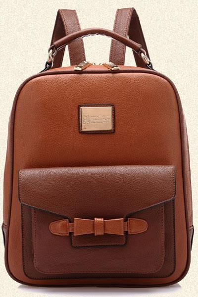 Leisure Bow Leather Backpack Schoolbag