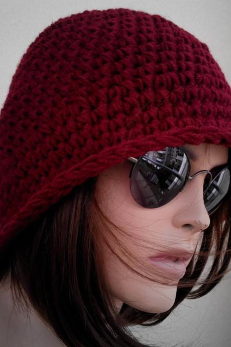 Womens fedora hat - chunky knit Slouchy BURGUNDY Beanie Slouch Hat Fall Winter Accessories Beanie Autumn Christmas Fashion