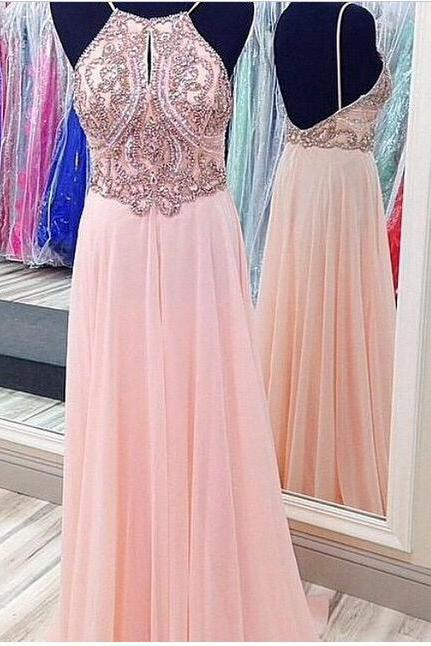 Custom Made A Line Pink Backless Prom Dresses, Dresses for Prom,Pink Backless Formal Dresses,Pink Backless Evening Dresses