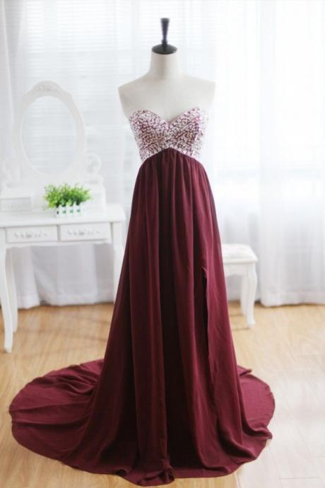 Custom Made A Line Maroon Sweep Train Prom Dresses, Formal Dresses, Evening Dresses
