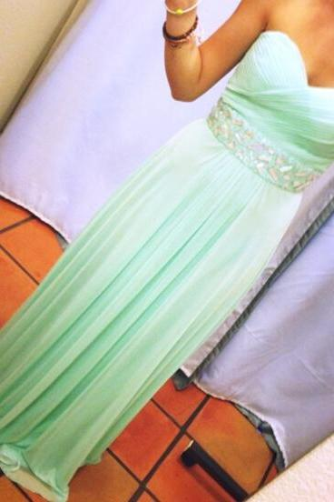 Custom-Made Mint Green Pretty Long Prom Dresses 2015, Prom Gown 2015, Prom Dresses, Evening Dresses, Formal Dresses