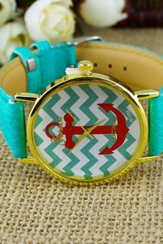 Anchor Face Stripes green Leather Belt Cute Unisex Watch