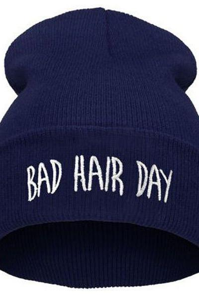 Bad hair day print blue teen winter unisex hat