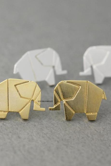 Origami Tiny elephant stud Earrings in silver/ gold , E0432G