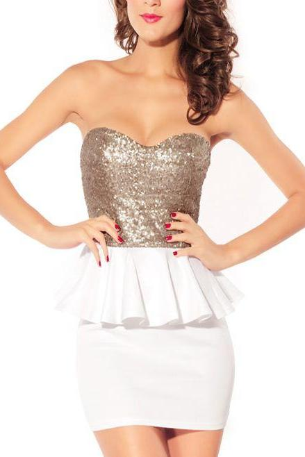 White Metallic Tube Peplum Party DRess