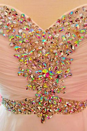 Sparkle Handmade Beadings Pink Prom Dresses 2016, Long Prom Dresses, Formal Dresses, Evening Dresses