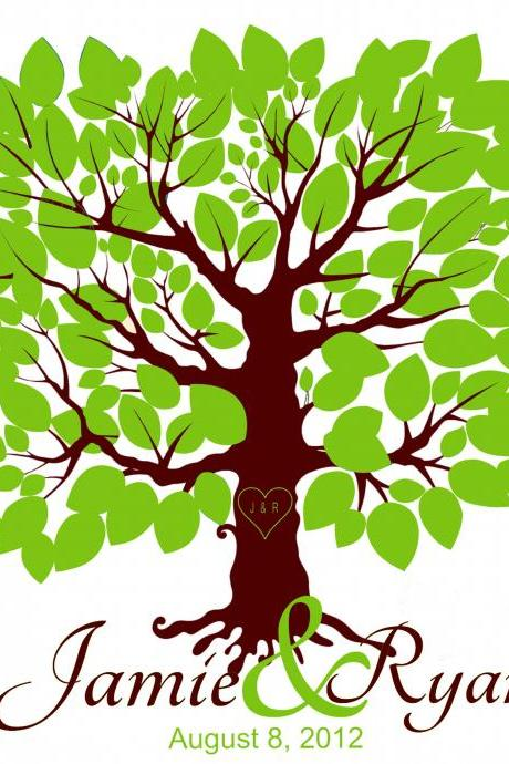 Personalized Wedding Signature Tree 18x24 100 signatures guest book alternative , aniversary gift