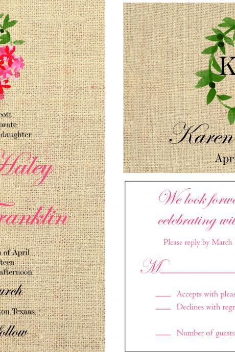50 custom wedding invitations, personalzied burlap invitations , custom invitations ,