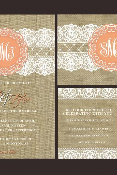 100 sets Personalized Wedding Invitations /fully customized to your wedding