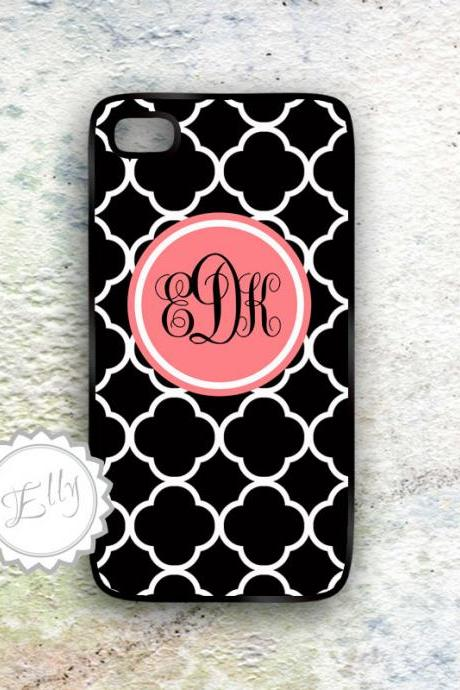 iPhone4 4s Coral iPhone Black Damask Monogram Case- Custom Monogrammed Cover