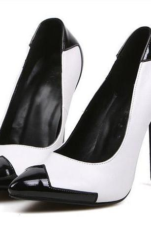 Chic Pointed Toe Black And White High Heel Shoes