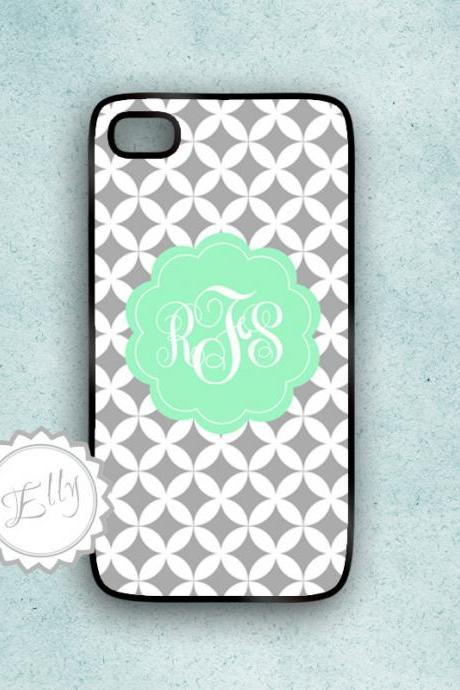 Iphone in case мint and gray diamond pattern custom monogram cover fits iPhone 4 4S