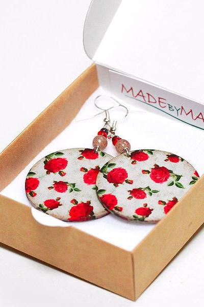 Vintage Roses Round decoupage Earrings Floral motif, deep red