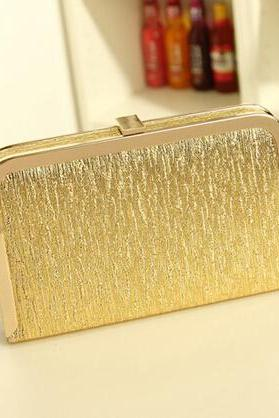 Chic Metallic Gold Clutch With Gold Chain