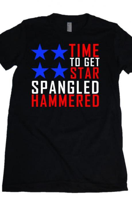 Time To Get Star Spangled Hammered Womens Missy Fit Scoop Neck T-shirt