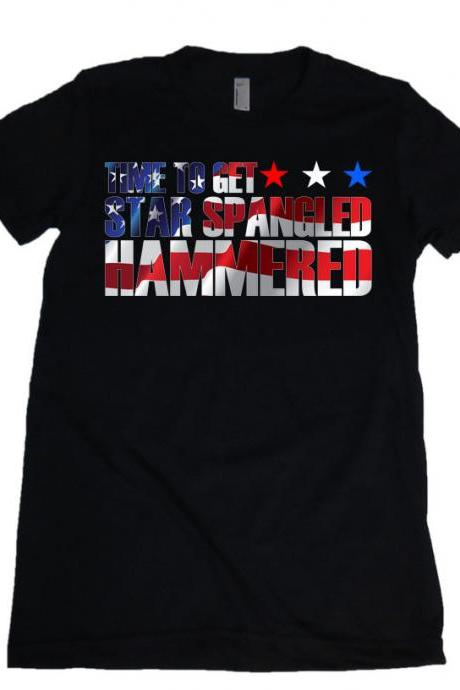 Time to Get Star Spangled Hammered American Flag Womens Missy Fit Scoop Neck T-shirt