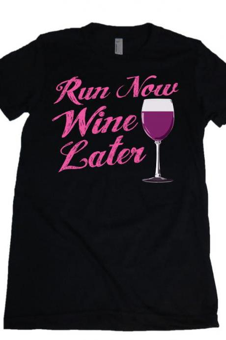 Run Now Wine Later Pink Womens Missy Fit Scoop Neck T-shirt