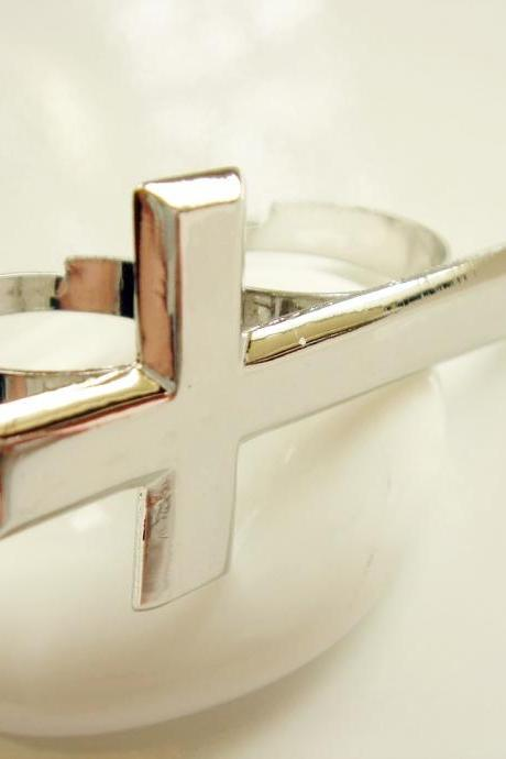 Sideways Cross Adjustable Silver Ring