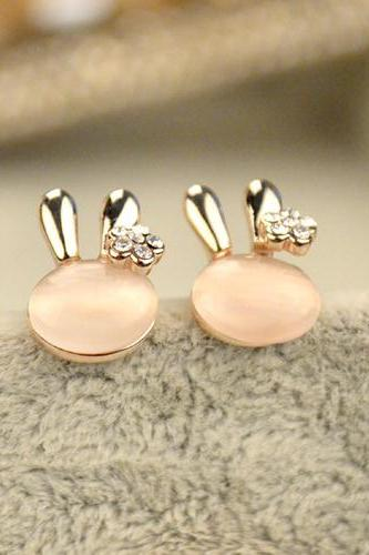 Cute Bunny Crystal Earrings