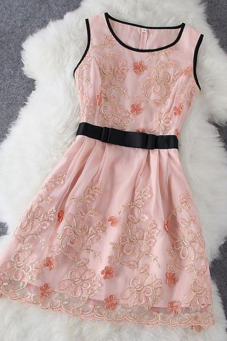 Bow Embroidered Gauze Dress
