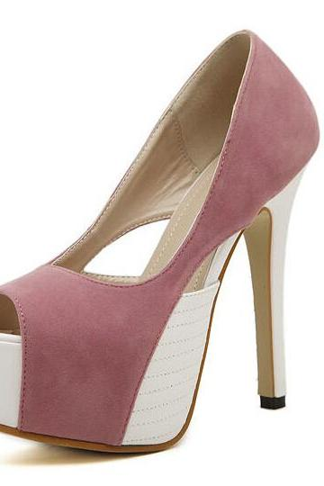 Hot Peep Toe Color Block Platform Pumps