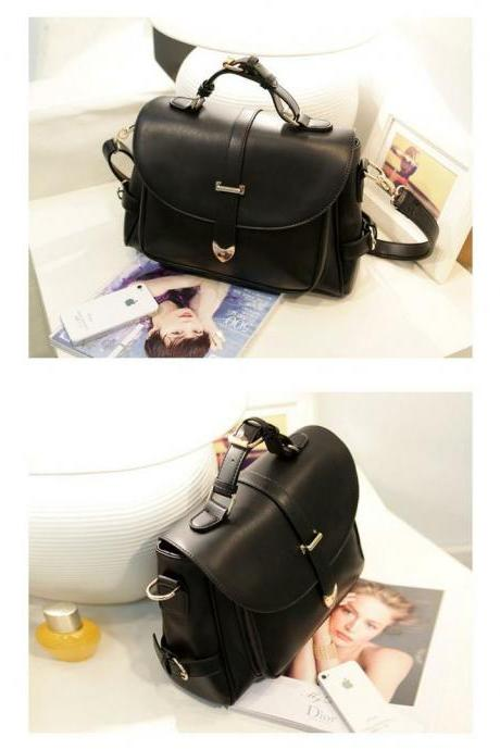 Fashion Messenger black Leather Woman Handbag