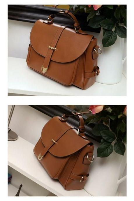 Fashion Messenger brown Leather Woman Handbag