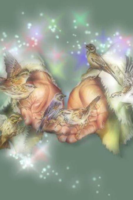 Birds In Gods Hands Cross Stitch Pattern***L@@K***~~ I SEND WORLD-WIDE ~~Free