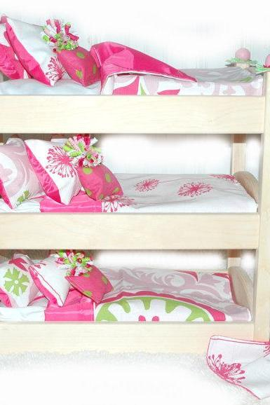 Triple Doll Bunk Bed - Make A Wish American Made Girl Doll Bed - Fits AG Doll and 18 inch dolls