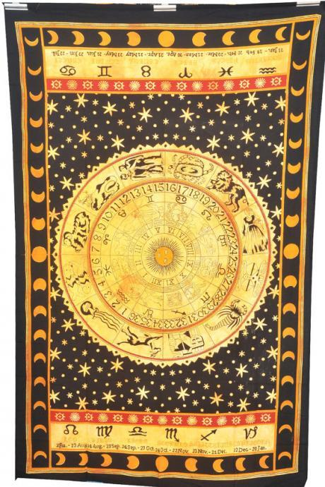 Astrology Tapestry,Tapestry , Hippie Tapestries, Indian Zodiac Bedspread Bed Cover Throw Boho Wall Hanging Twin Hippie Coverlet, Bohemian