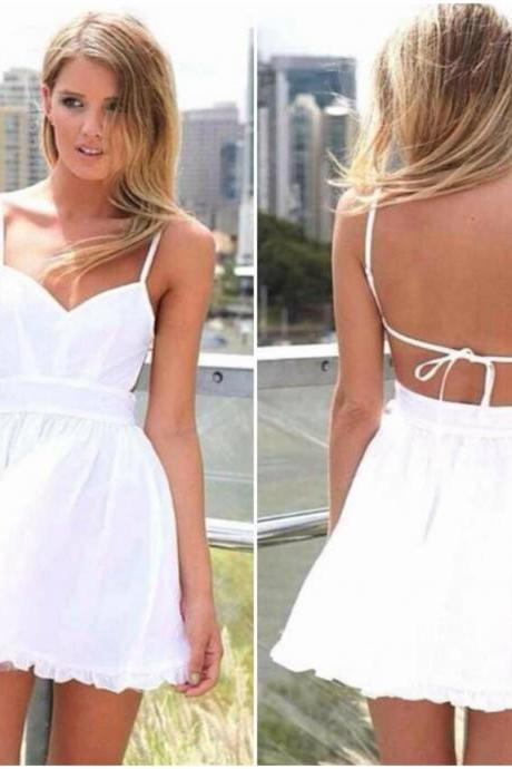 Spaghetti Strap White A Line Mini Dress